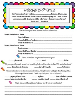 Back to School Parent Survey for (Grades 3-6 included)