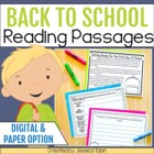 Back to School Reading Comprehension Pack