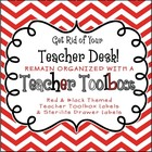Back to School - Red Chevron Teacher Toolbox and 3-Drawer Labels