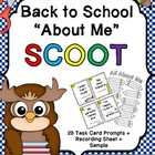 Back to School SCOOT! Task Card Fun and About Me Craftivity