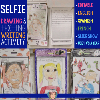 """Student """"Selfies"""" with Writing Prompts (includes Halloween variation)"""