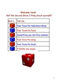 Back to School Smartboard Dice Activity