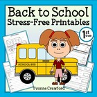 Back to School Stress-Free Printables - First Grade Common Core