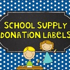 Back to School Supply Donation Labels - Teacher Wish List