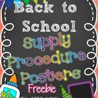 Back to School Supply Procedure Posters FREEBIE!