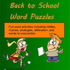 Back to School Word Puzzles - Smartboard