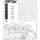 Back to School Word Search Puzzle / 1st Grade