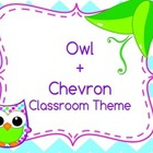 Back to school - Owl and Chevron classroom theme