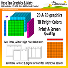 Base Ten Block Graphics and Mat Set in 12 colors - Print &