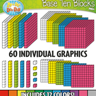 Base Ten Blocks Cube Clip Art Set 1 — Over 25 Rainbow Colo