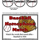 Baseball Homophone Match - Over 60 Sets of words - Sound A