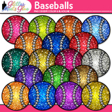 Baseballs Dipped in Glitter Clipart - Celebrate School Spo