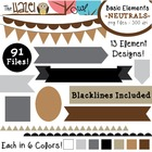 Basic Elements Clip Art Set - Frames, Badges, Banners & Pa