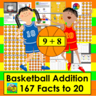 Basketball Math Addition Math Centers - 100 Facts on Baske