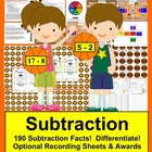 Basketball Math Centers Subtraction - 3 Ways to Play - 190 Facts