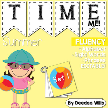 Beach Party! Time Me Word and Phrase Fluency Station Editable