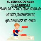 Bebidas y Servicio de Mesa Vocabulary Activities, Crosswor
