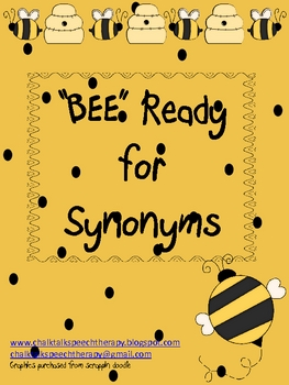 """Bee"" Ready for Synonyms a Buggy Spring mini activity"