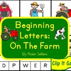 Beginning Letters: On The Farm {Clip It Literacy Games and