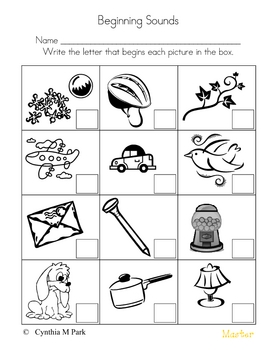 Beginning, Middle  & Ending Sounds worksheets