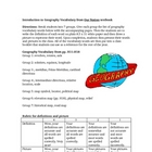Beginning of Year Geography Vocabulary Activity Lesson Plan