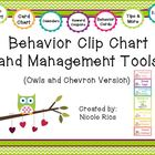 Behavior Clip Chart and Management Tools - Owls & Chevron