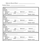 Behavior Form Classroom Management Parent Teacher Conference