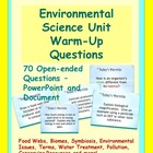 Environmental Science Unit Warm-Up Questions