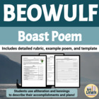 Beowulf Boast Rubric, Prewriting, Example, and Template