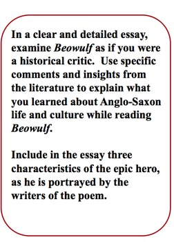 Beowulf Writing Prompt