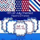 Berry July: 4th of July Themed Digital Backgrounds & Frame
