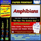 Bill Nye - Amphibians – Worksheet, Answer Sheet, and Two Quizzes.