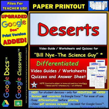 Bill Nye - Deserts – Worksheet, Answer Sheet, and Two Quizzes.