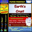 Bill Nye - Earth's Crust – Worksheet, Answer Sheet, and Tw