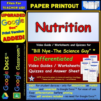 Printables Nutrition Worksheets nutrition lessons tes teach bill nye worksheet answer sheet and two quizzes