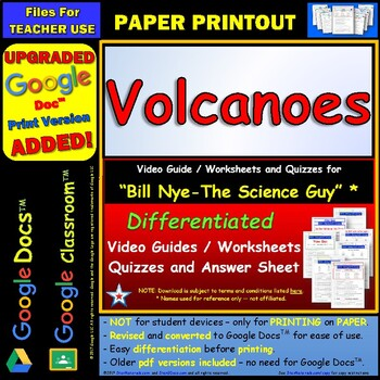 Bill Nye - Volcanoes – Worksheet, Answer Sheet, and Two Quizzes .