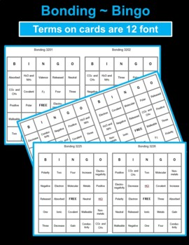Bingo Game for Chemical Bonding with ionic and covalent compounds