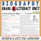 Biography Reading & Writing Unit Grade 6: 40 Detailed Less