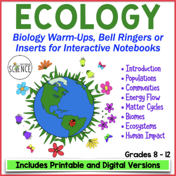 Biology Interactive Notebook, Warm Ups, Bell Ringers: Ecology Unit