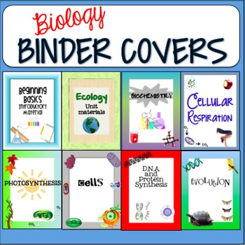 Biology themed binder covers