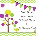 Bird Theme Word Wall Alphabet Cards in D'Nealian Font