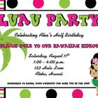 Birthday - Custom Luau Birthday Invite