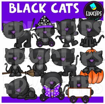 Black Cats Clip Art Bundle