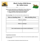 Black Cowboy Wild Horses Reading Comprehension Guide (6 pages)