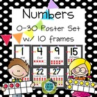 Black Dot Numbers 0-30 Poster Set with Ten Frames (CCSS)