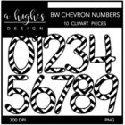 Black & White Chevron Numbers {Graphics for Commercial Use}