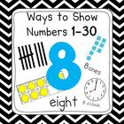 Black & White Chevron 0-30 Number Posters (Ten Frames, Tal
