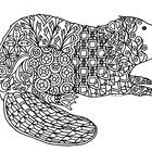 Black & White Detailed Beaver Coloring Sheet