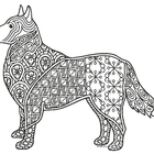 Black & White Detailed Dog Coloring Sheet