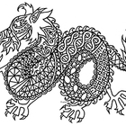 Black & White Detailed Dragon Coloring Sheet: 2012 Chinese